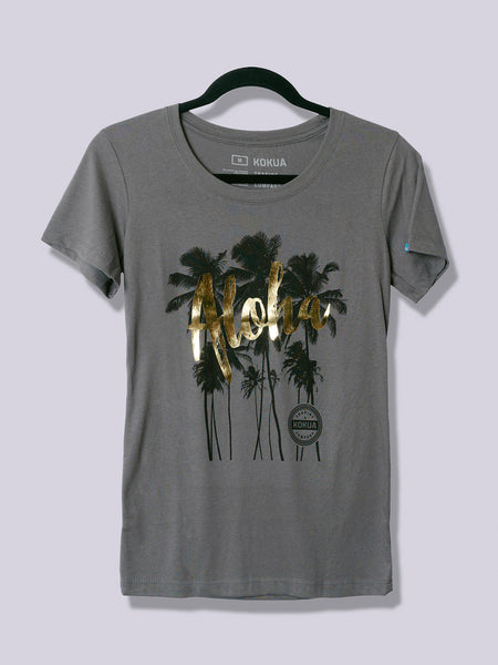 Women's Aloha Palm Gold Foil on Dark Gray
