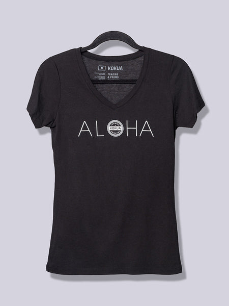 Women's Aloha White on Black V-Neck
