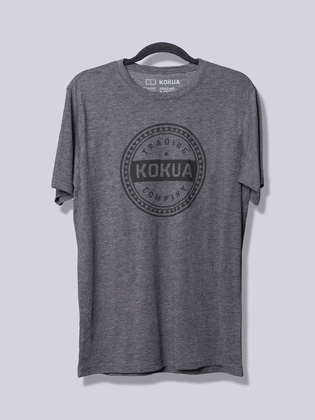 Men's Kokua Circle Black on Premium Heather Charcoal