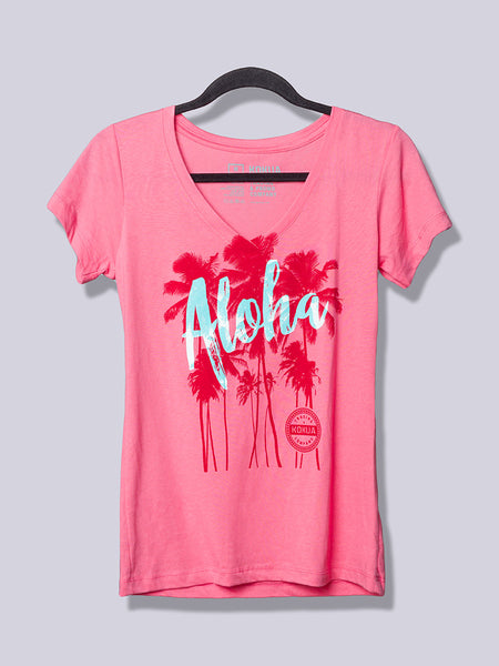Women's Aloha Palm Blue on Pink V-Neck