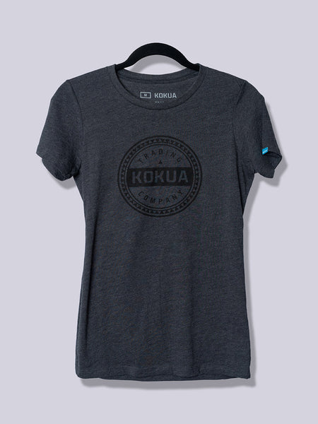Women's Kokua Circle Black on Heather Charcoal