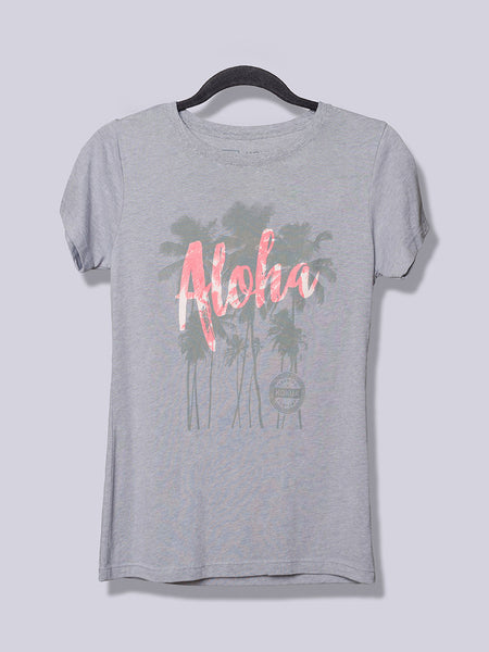 Women's Aloha Palm Pink on Heather Gray