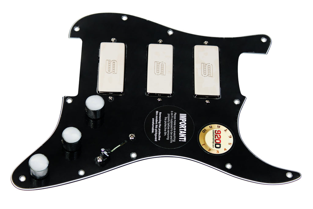920D Custom Seymour Duncan Triple SM-3 Loaded S Style Pickguard w/ 7-Way Switching, Black / Chrome