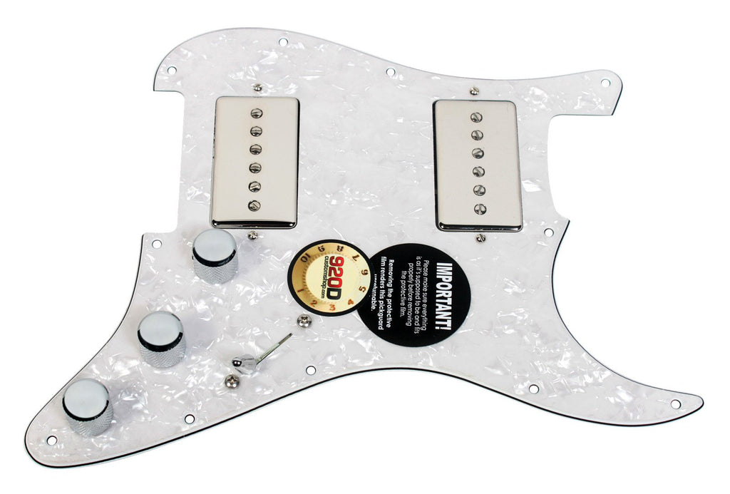 920D Loaded HH Pickguard Fender Strat Duncan Phat Cat, Nickel - White Pearl