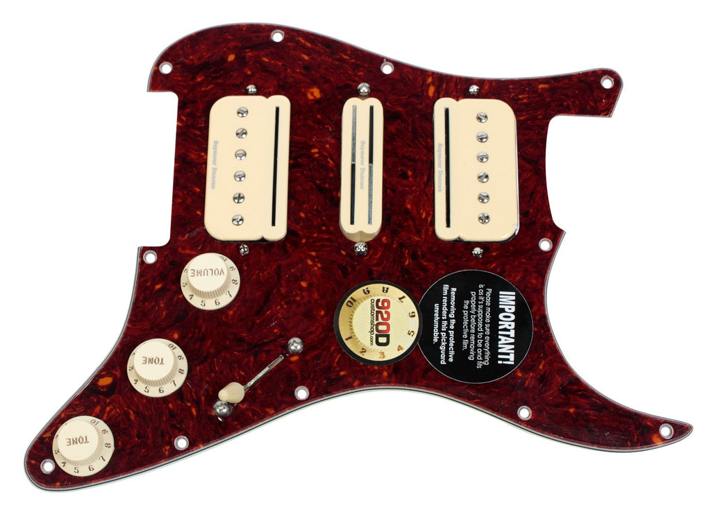 920D Custom Loaded Strat Pickguard with Seymour Duncan HSH P-Rails