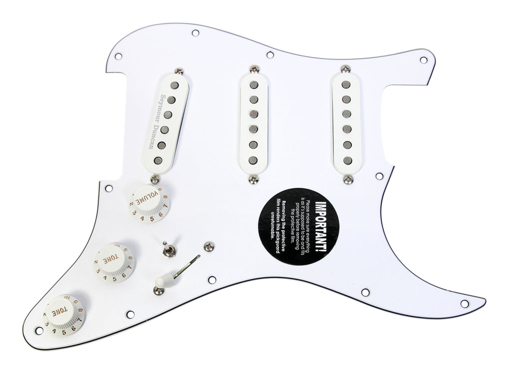 920D Custom Seymour Duncan SSL-5 / SSL-1 Loaded Stratocaster Pickguard w/ 7-Way Switching, WH/WH