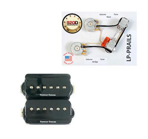 Seymour Duncan 11303-03-B SHPR-1 P-Rails Humbucker Pickup Set, Black w/ LP-PRAILS Wiring Harness