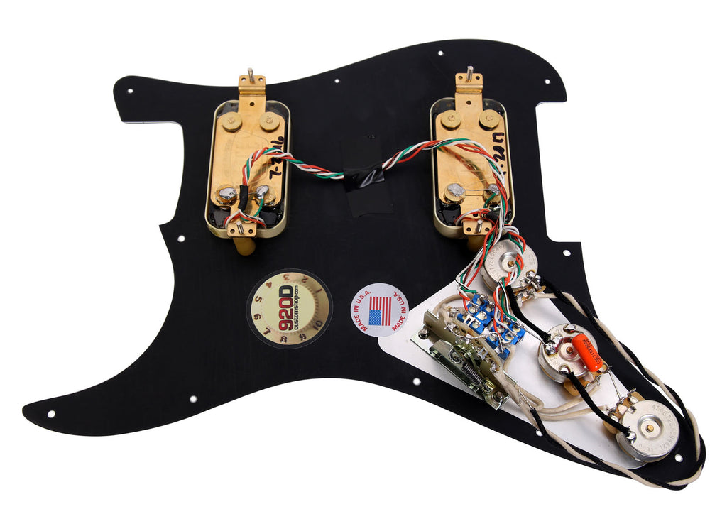 920D Lace Sensor Gold HH Splittable Dually Strat Loaded Pickguard BK/AW
