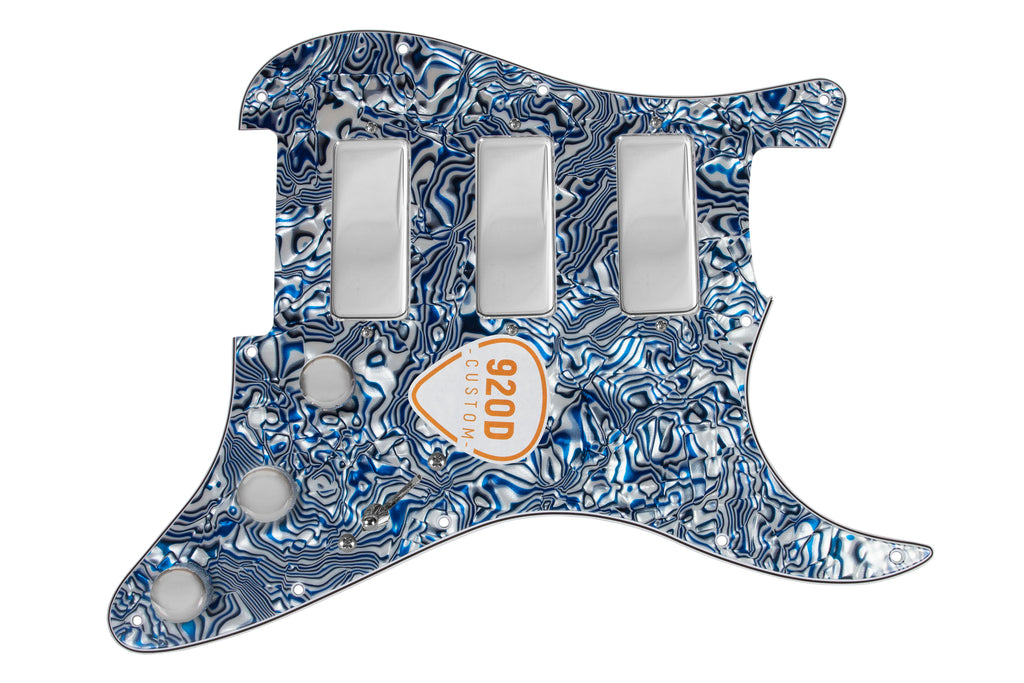 920D Fiesta Pickups Stadium Triple Mini Humbucker Loaded  Pickguard w/ 7-Way Switching, Blue Shell / Chrome