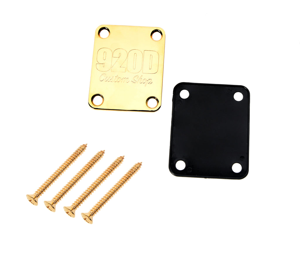 920D 4 Bolt Neck Plate with Gasket and Screws Fits Fender Strat and Tele Gold