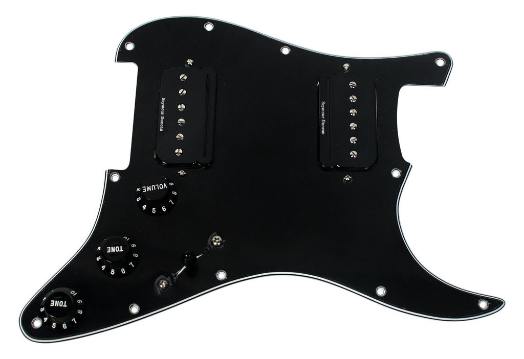 Seymour Duncan P-Rails HH Loaded Strat Pickguard  Black / Black