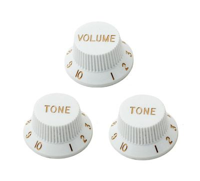 920D Custom S-Style Volume/Tone/Tone Knob Set, White
