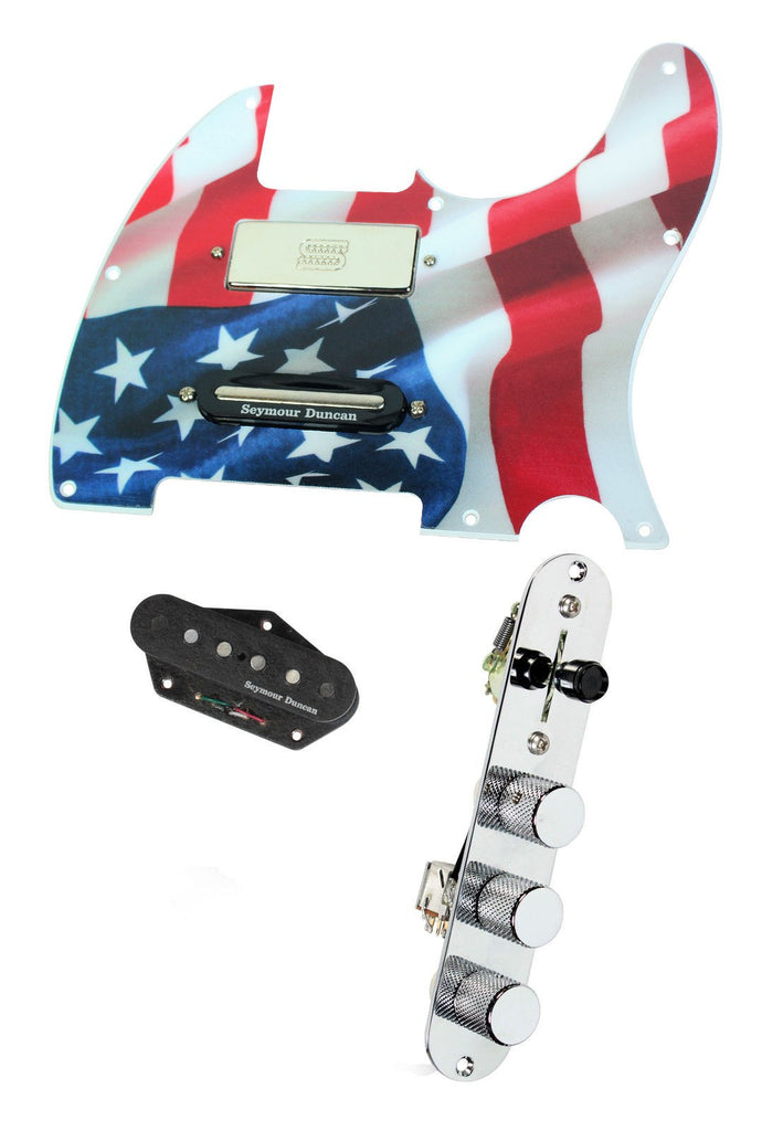 920D Custom Seymour Duncan Brent Mason Loaded T Style Pickguard w/ TMAS-C Control Plate, U.S. Flag Graphic