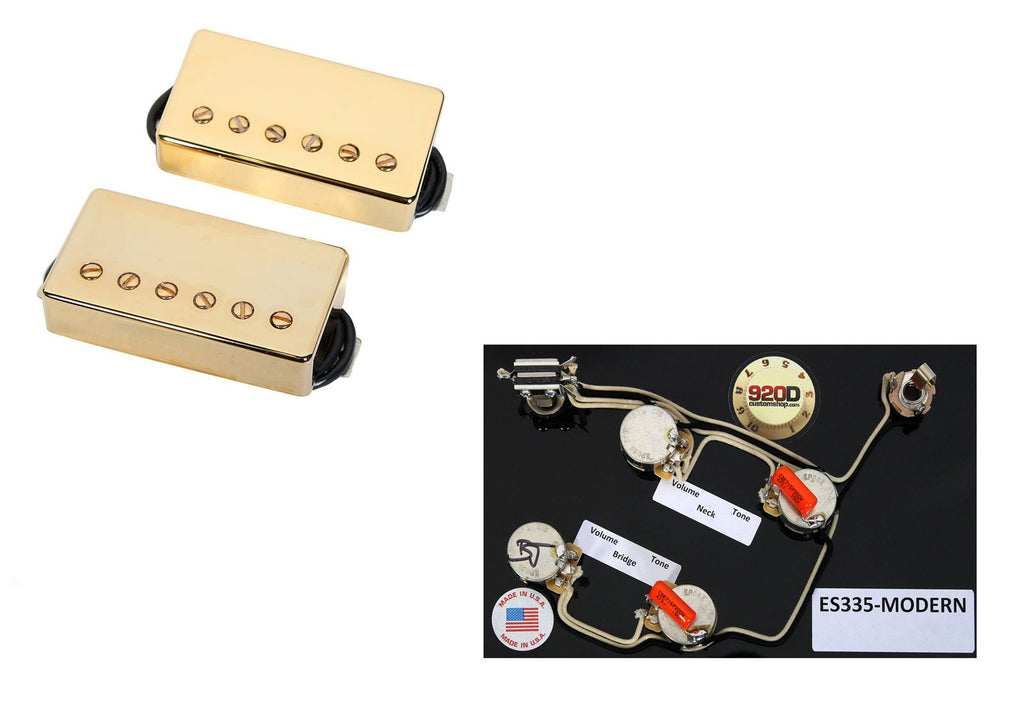Duncan Hot Rodded Humbucker Pickup Set, Gold + ES335 Modern Harness