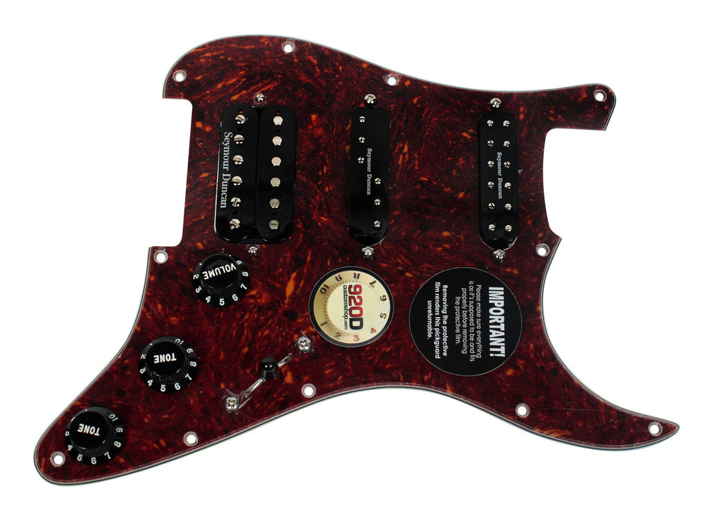 920D Custom Loaded Pickguard Seymour Duncan Fat Everything Axe 7-Way Tortoise