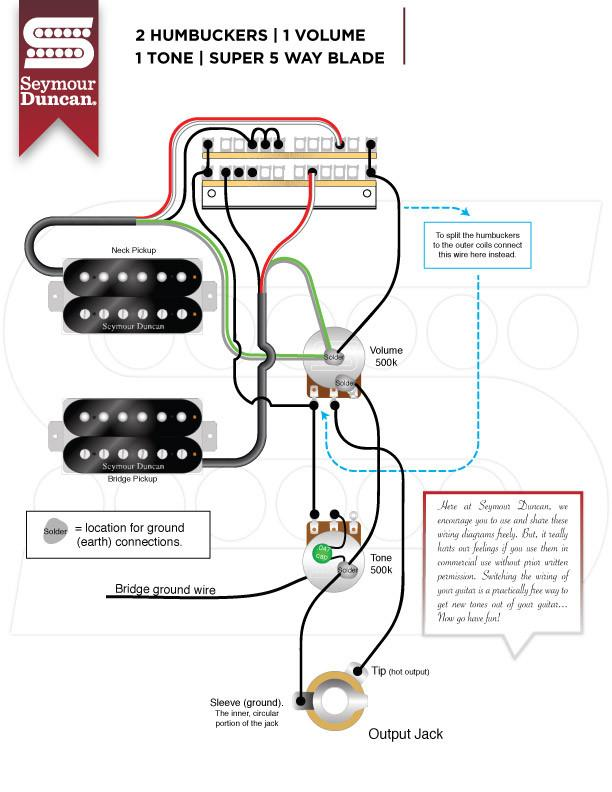 920D Custom Shop Strat 5-way Wiring Harness 500K Super Switch for HH on 2 tone 1 volume bass diagram, toggle with 1 pickup wiring diagram, humbucker pickup wiring diagram,