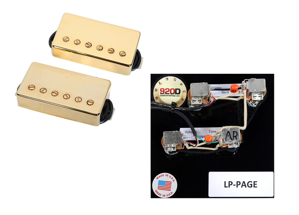 Duncan SH-4/SH-2n Hot Rodded Humbucker Pickup Set, Gold+Page Wiring Harness
