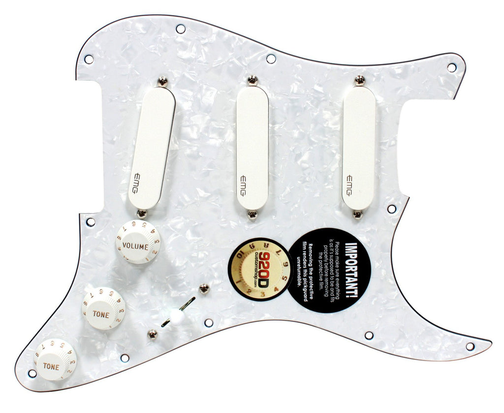 920D Custom Loaded Strat Pickguard w/ EMG SA SPC EXG White / White Prl