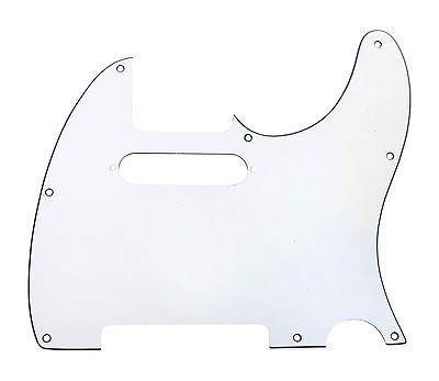 920D CS White 3 Ply Strat Cut Pickguard for Fender Tele CNC Precision Cut
