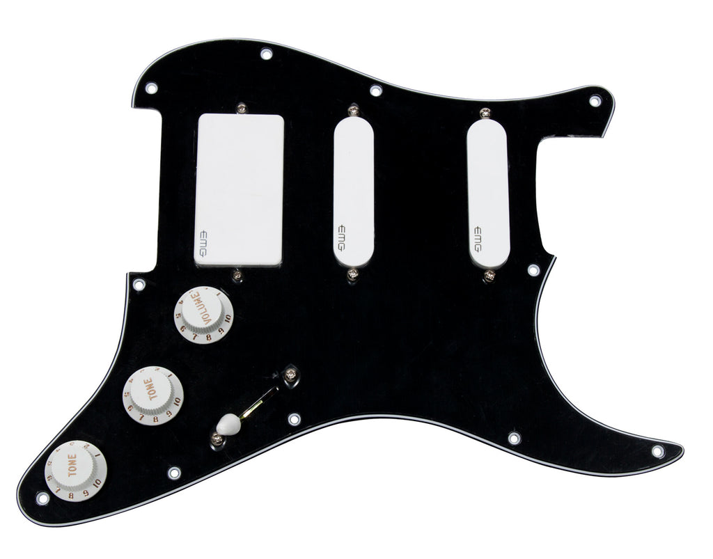 920D Strat Loaded Pickguard EMG-SA/SA/81 HSS Black/White