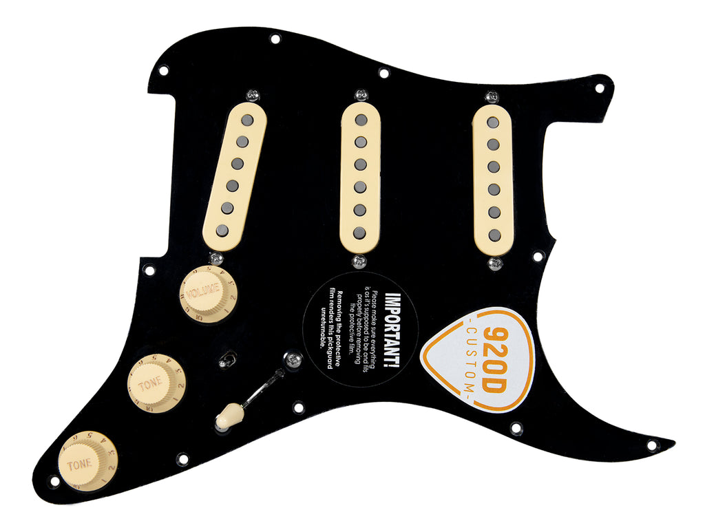 "920D Custom Fiesta Pickup ""DG"" Loaded Pickguard - Black/Aged White"