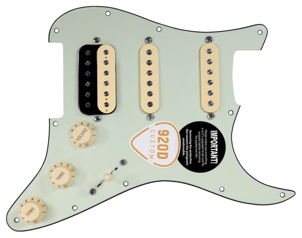 920D Custom Fiesta Pickups HSS Loaded Pickguard Roughneck and Hush Puppies Hot Ceramic MG/AW