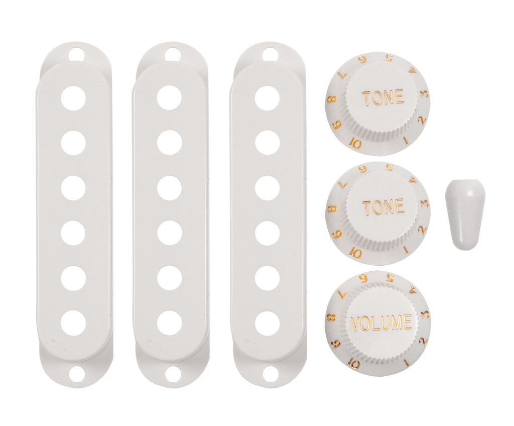 920D Custom S-Style Volume/Tone/Tone Knob Set, SSS Pickup Covers, and Switch Tip, White