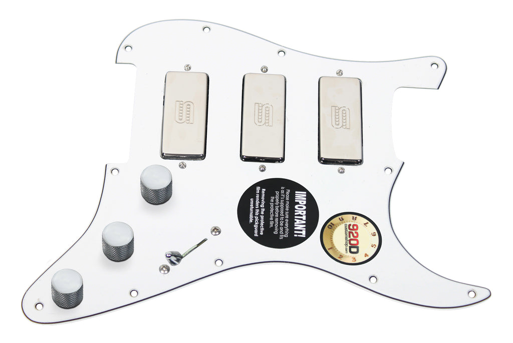 920D Custom Shop Duncan SM-3 Mini Humbucker Strat Pickguard White/Chrome