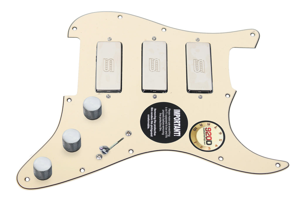 920D Custom Shop Duncan SM-3 Mini Humbucker Strat Pickguard Cream/Chrome