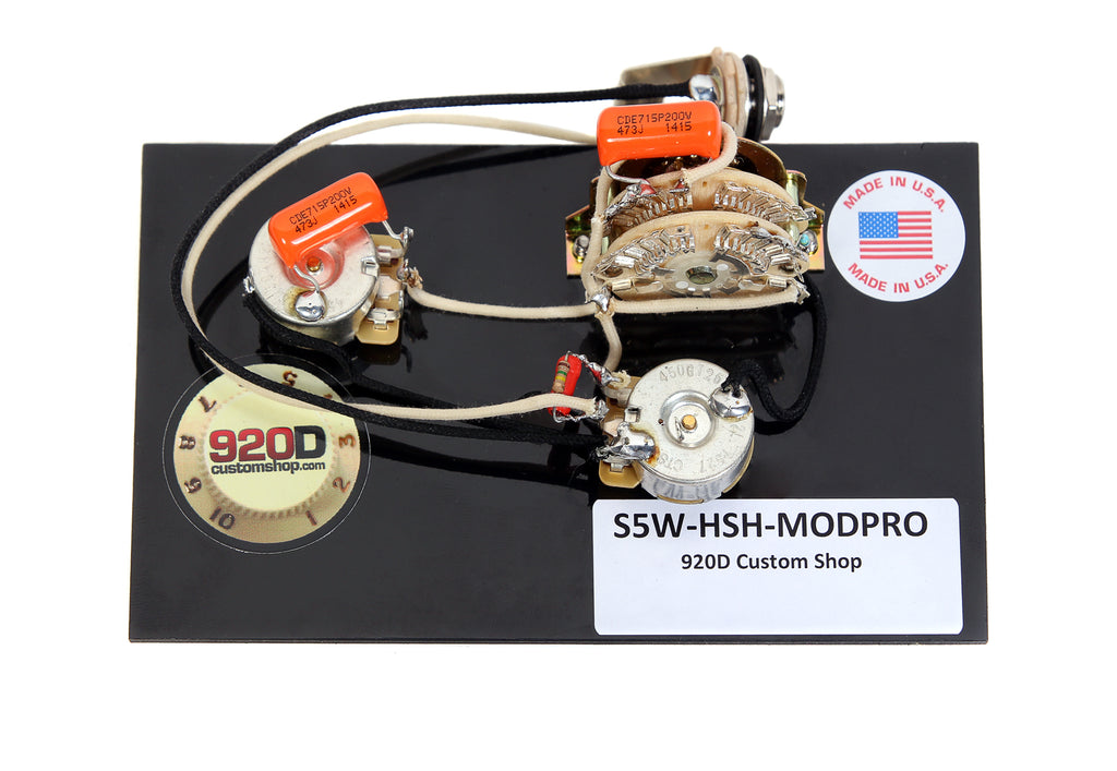 920D Custom S5W-HSH-MODPRO Suhr Modern Pro Style Wiring Harness for HSH Configurations w/ Auto Splitting, Treble Bleed and 5-Way Superswitch