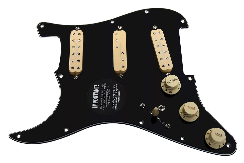 920D Stratocaster Left Handed Loaded Pickguard Duncan Everything Axe, Black/Cream