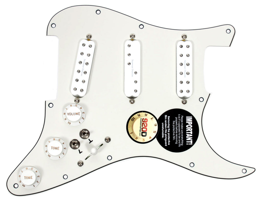 920D Custom Seymour Duncan Everything Axe Loaded Stratocaster Pickguard w/ 7-Way Switching and Coil Splitting, Parchment / White