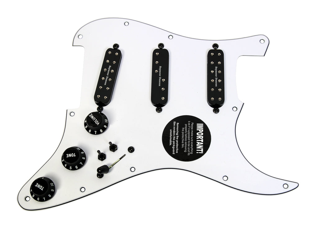 920D Custom Seymour Duncan Everything Axe Loaded Stratocaster Pickguard w/ 7-Way, Coil Splitting and Black Hardware, WH/BK