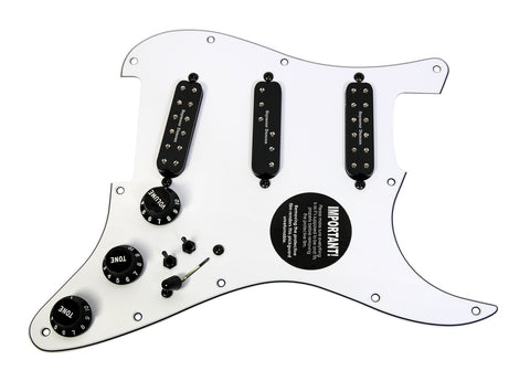 920D Loaded Stratocaster Pickguard Duncan Everything Axe W/ 2 Toggles WH/BK BK HW