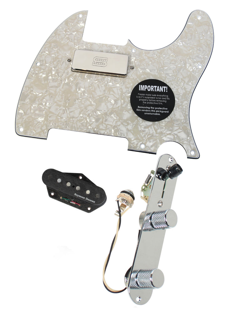 920D Custom Seymour Duncan Vintage Stack / SM-1n Mini Humbucker Loaded Telecaster Pickguard w/ T3W-C, Aged White Pearl