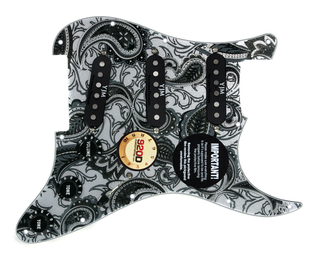 920D Custom S Style Loaded Pickguard Duncan YJM Fury PY/BK