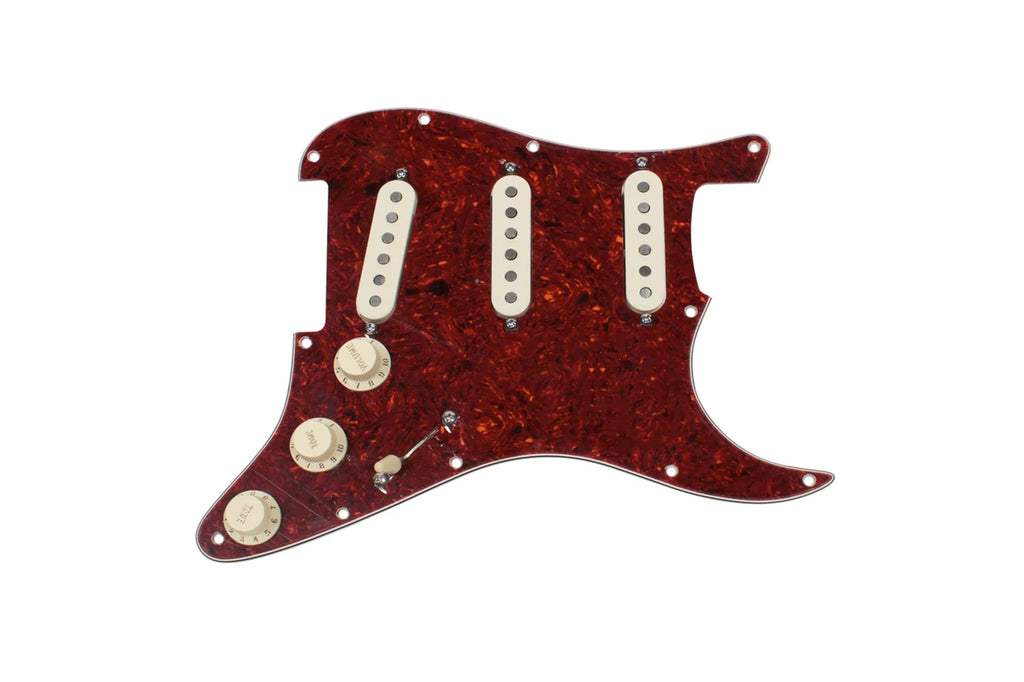Fiesta Pickups Texas Tumbleweeds S-Style Loaded Pickguard (Aged White/Tortoise)