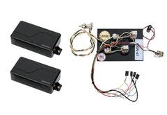 Fishman Fluence Modern Humbucker Pickup Set, Black + Prewired Les Paul Harness