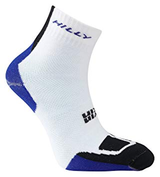 TwinSkin Hilly's Running Sock Anklet- White/ Blue/ Black