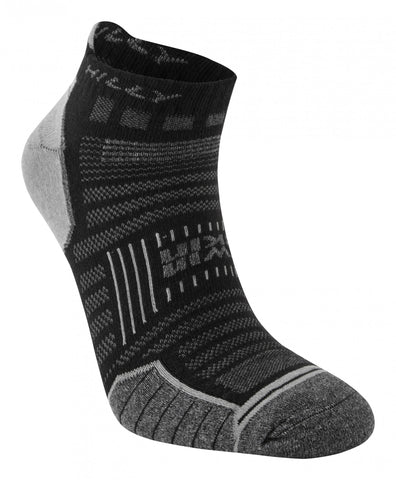 TwinSkin Hilly's Running Sock Socklet- Black/ Grey Marl