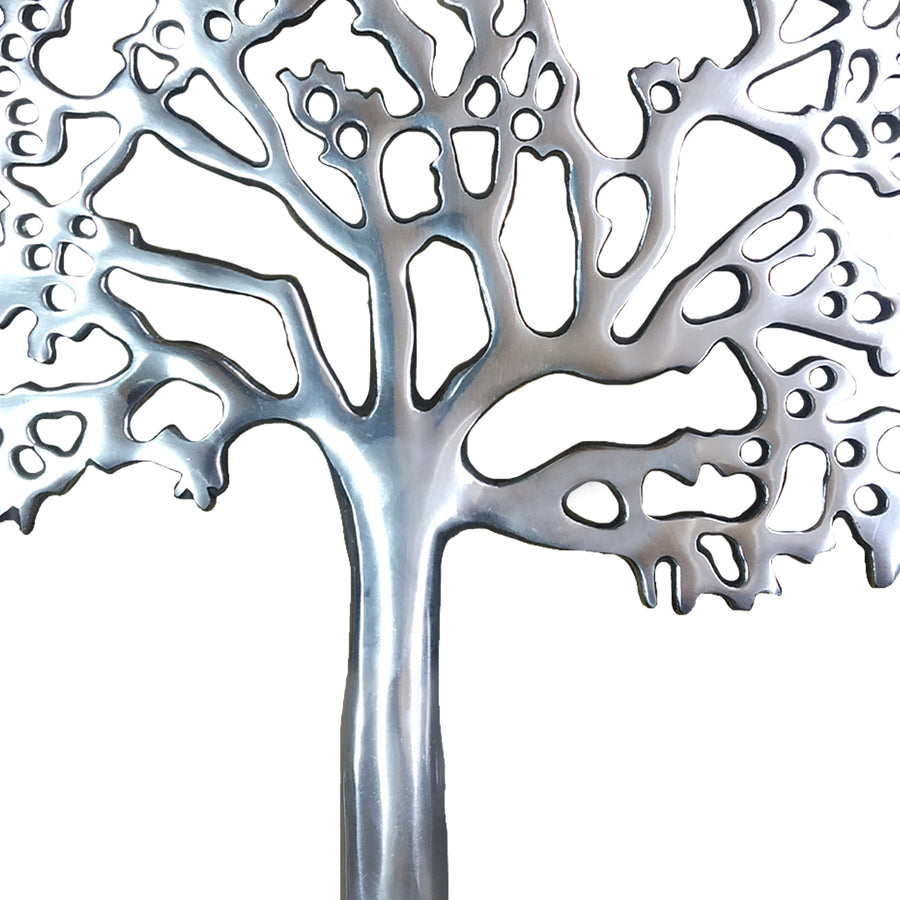 Benzara BM01183 Aluminum Tree Decor with Black Block Base