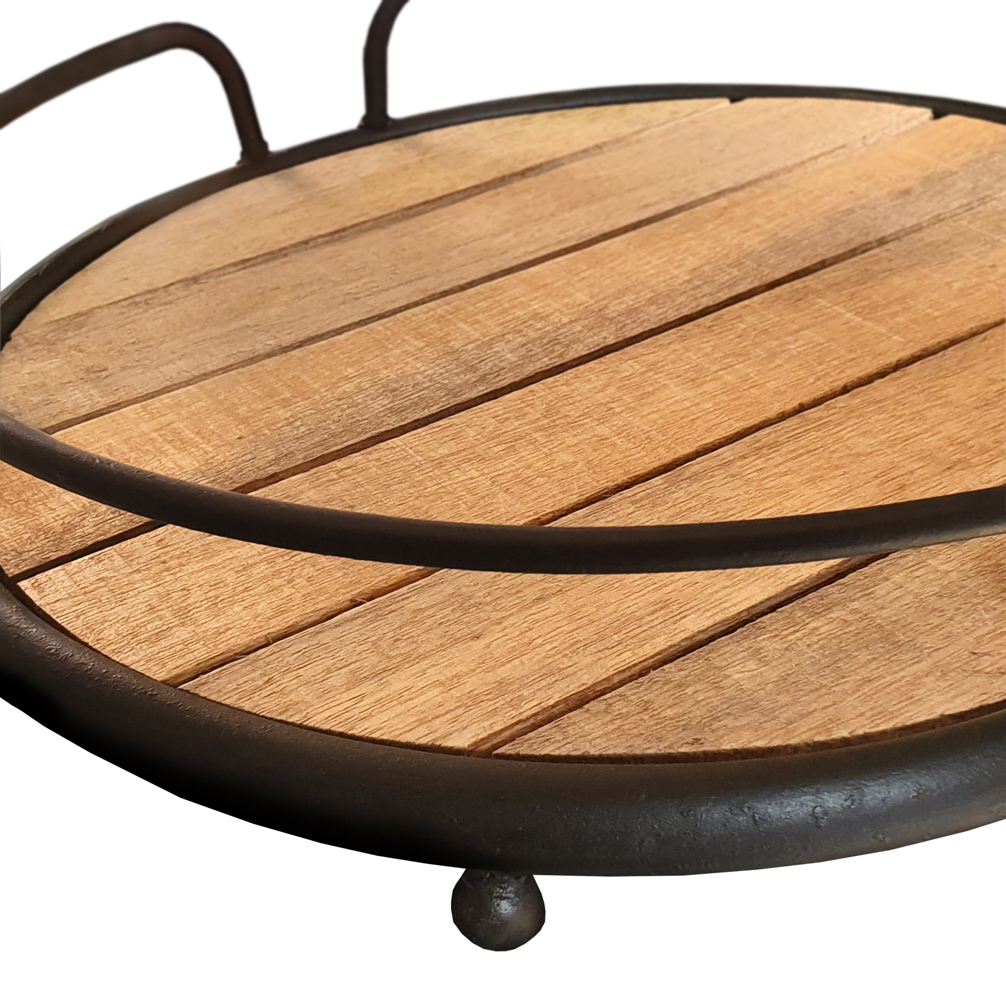 Benzara BM195136 Round Metal Frame Tray with Plank Style Wooden Base
