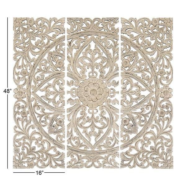 Benzara Floral Hand Carved Wooden Wall Plaque, Set of three, BM00070