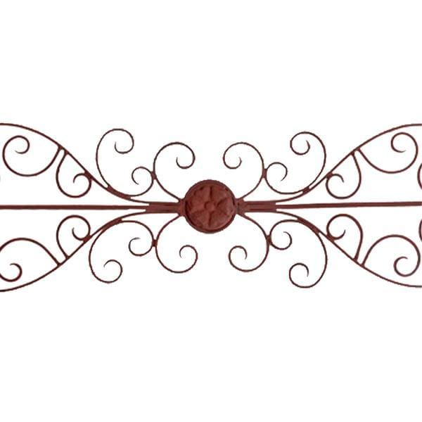 Benzara BM01054 Metal Wall Plaque With Scrollwork Brow