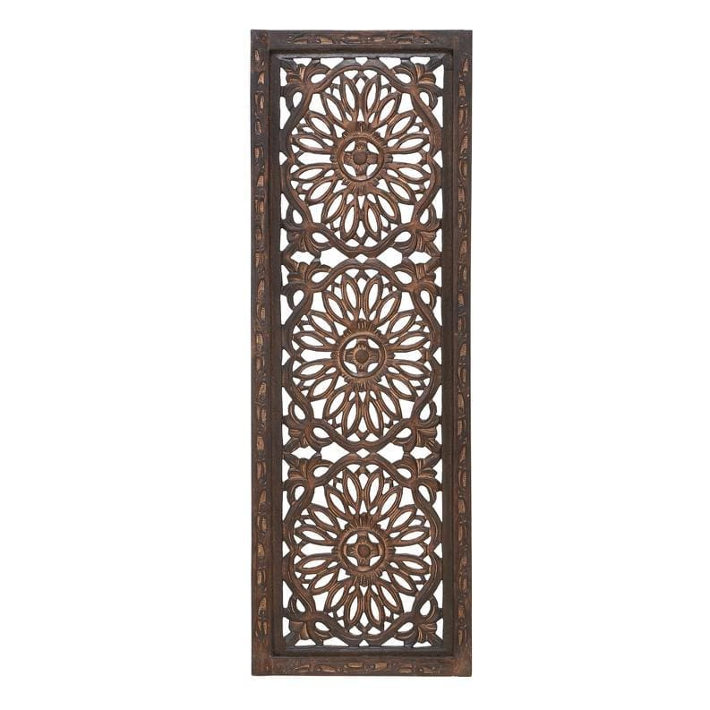 Benzara Floral Hand Carved Wooden Wall Panels, Set of Two BM01881