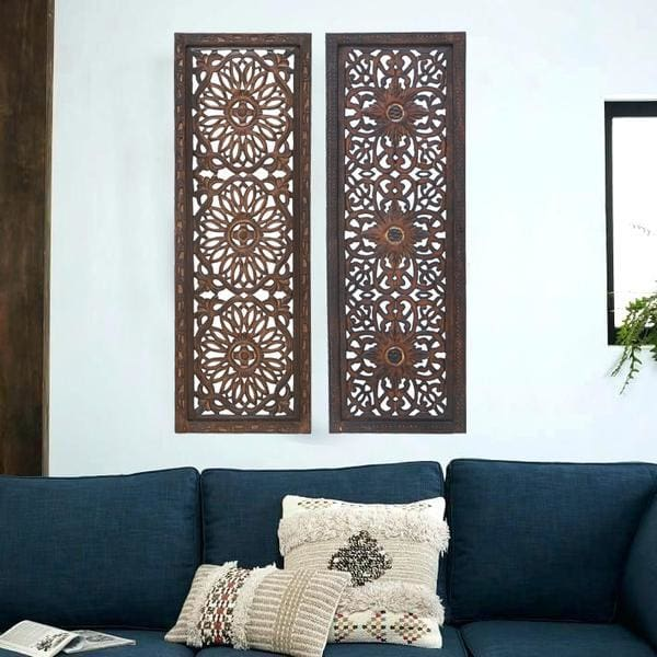 Benzara Floral Hand Carved Wooden Wall Panels Assortment Of Two Brown
