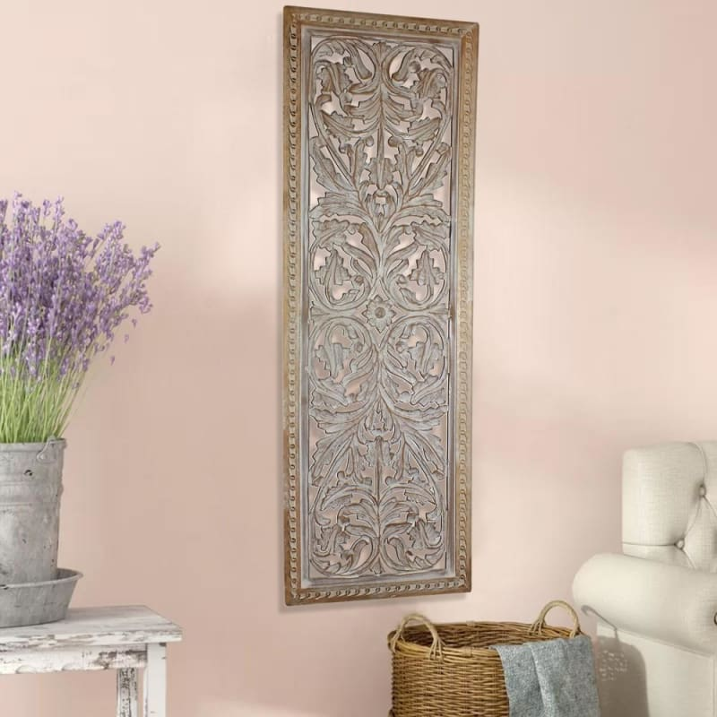 Attractive Mango Wood Wall Panel Hand Crafted With Intricate Details White