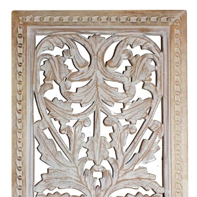 Benzara BM01909 Attractive Mango Wood Wall Panel W/ Intricate Details