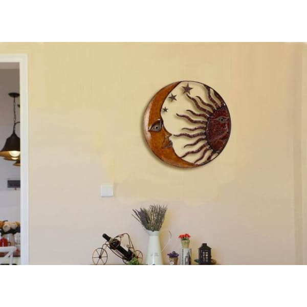 Benzara, Benzara BM05395 Metal Sun Moon Wall Art,