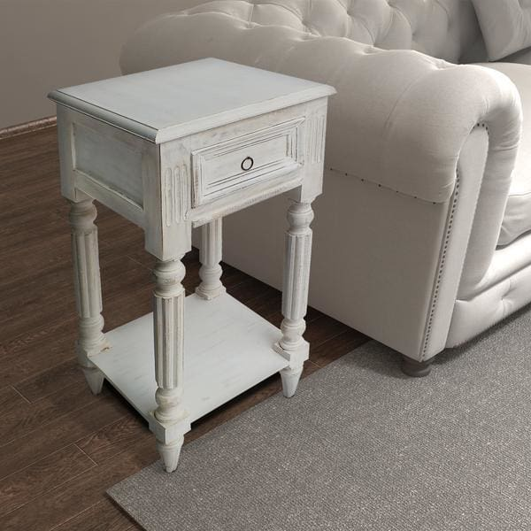 Benzara BM07600 Mango Wood Side Table W/ Metal Ring Handle